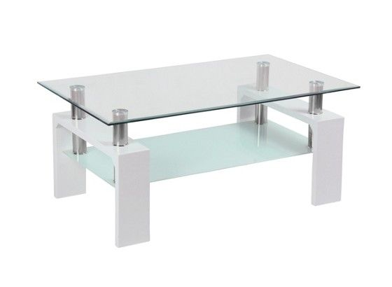 Couchtisch Weiß mit Glasplatte u2013 Online bei Möbelix bestellen - designer couchtisch glas prisma