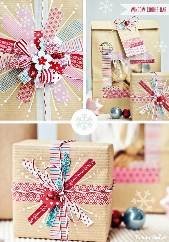 DIY gift wrapping with washi tape and kraft paper: