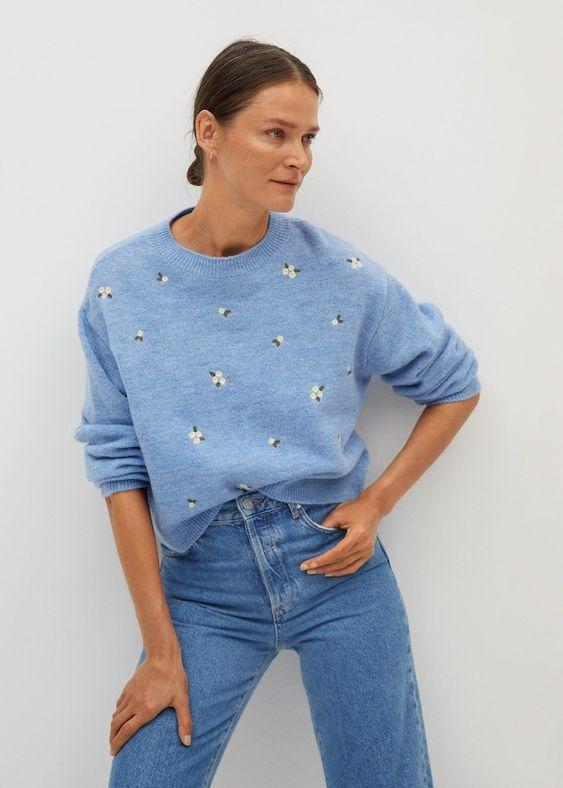 Camisola de malha bordada - Mulher | Mango Portugal