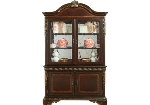 Aylesbury Brown Cherry 2 Pc China China Cabinets Dark Wood China Cabinet Affordable Dining Room Affordable China Cabinet