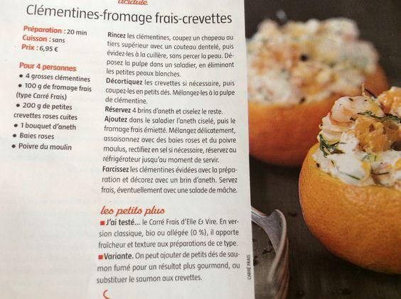 Clémentines fromage frais crevettes