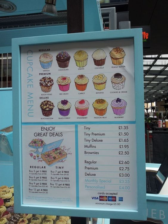 cute menu idea. keep choices to a minimum so customers are not overwhelmed with flavors::