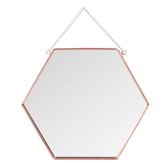Spiegel hexagonal copper aus metall h 31 cm kupferfarben maisons du monde storyboard g ste for Spiegel wc deco