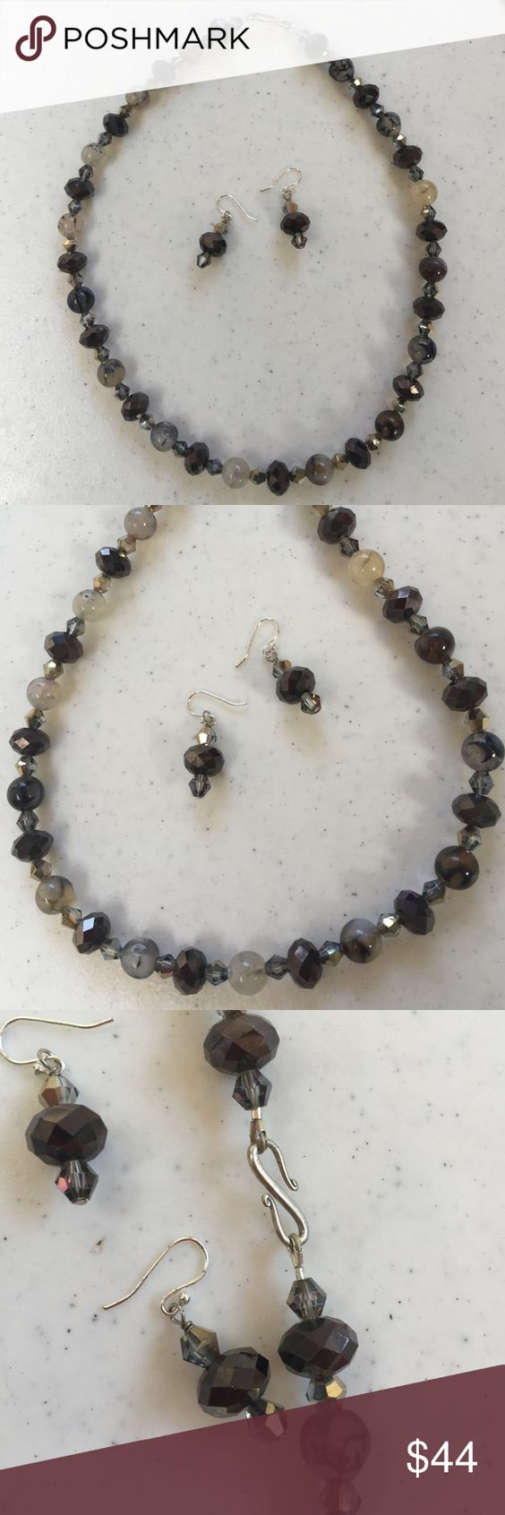 """Agate necklace and earrings This Princess style length is 18.5""""inches made with Agate stones and Crystal AB finished with S-hook SS fill clasp. The earrings are included! Jewelry Necklaces"""
