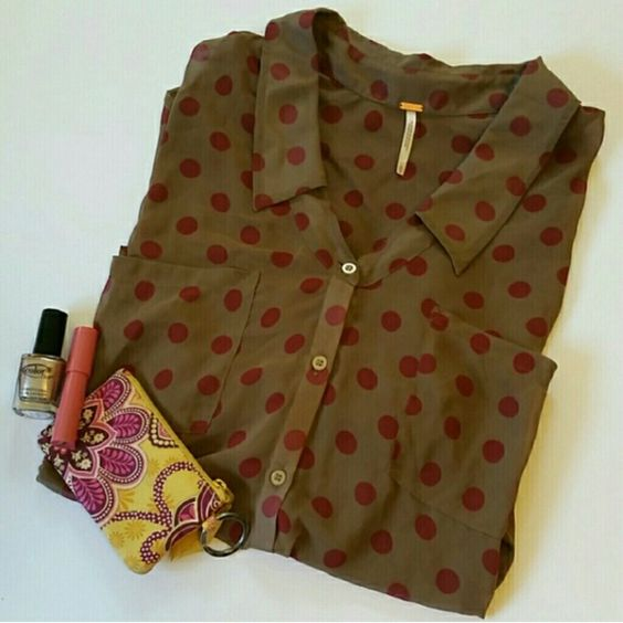 Free People Polka Dot Button Down Beautiful sheer button down in tan with dark pink polka dots. High low style, sleeves can be rolled and buttoned up. Excellent condition. Free People Tops Button Down Shirts
