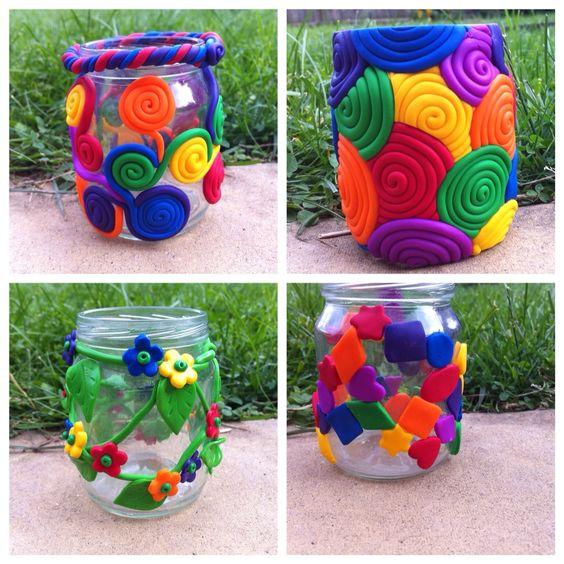 fimo clay jars: