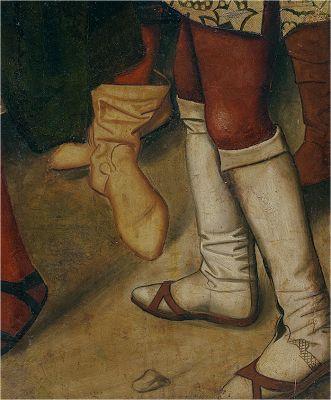 Estivales el calzado amarillo. Borceguís el calzado blanco con chinelas. XV. Fernando I de Castilla acogiendo a Santo Domingo de Silos, Bartolomé Bermejo, Museo del Prado, Madrid (detalle):