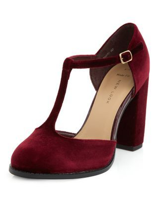 Wide Fit Dark Red Velvet T-Bar Block Heels | New Look | Shoes that ...