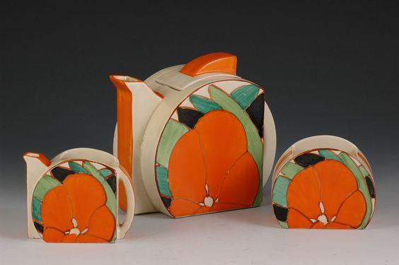 Andrew Muir | Clarice Cliff, Art Deco Pottery, Moorcroft and 20th Century Ceramics Dealer - Gardenia stamford trio