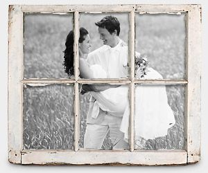 wedding photo in window frame