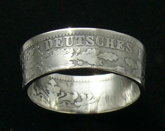 Silver Coin Ring 1876 Germany 1 Mark  Ring by GlobalCoinJewelry, $44.99