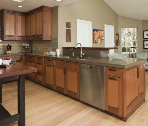 Country Kitchen With Maple Shaker Cabinets And Terra Cotta: Contemporary U-shaped Taupe Kitchen, Oak Cabinets, $50,000