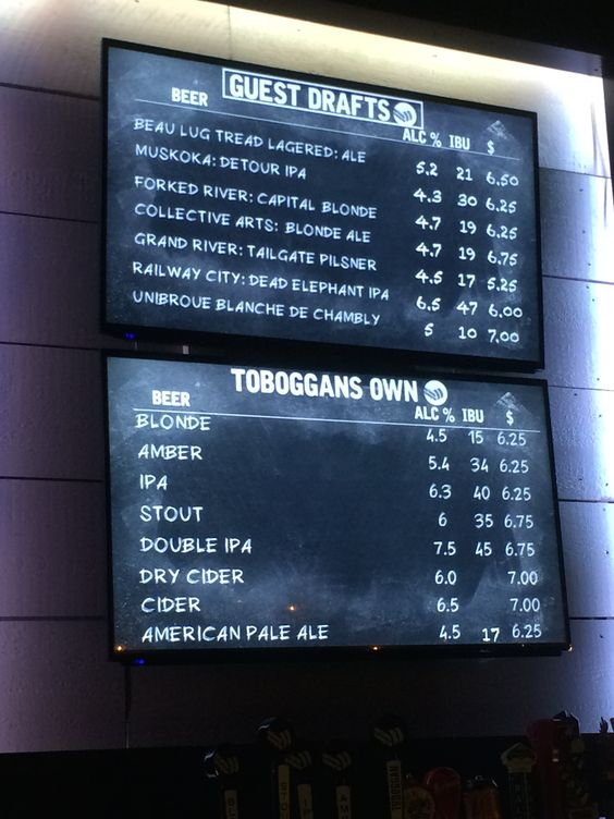 this beer menu is a new digital screen designed to look like an old chalk board