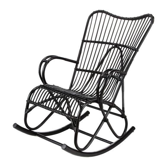 119 80 chez maisons du monde rocking chair rotin noir. Black Bedroom Furniture Sets. Home Design Ideas