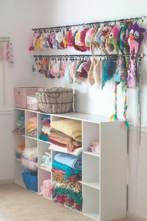 Hat storage curtain rods and winter gear on pinterest for How to store hats