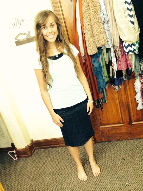 Jenna wearing a Love My Jean Skirt paisley print black denim ...