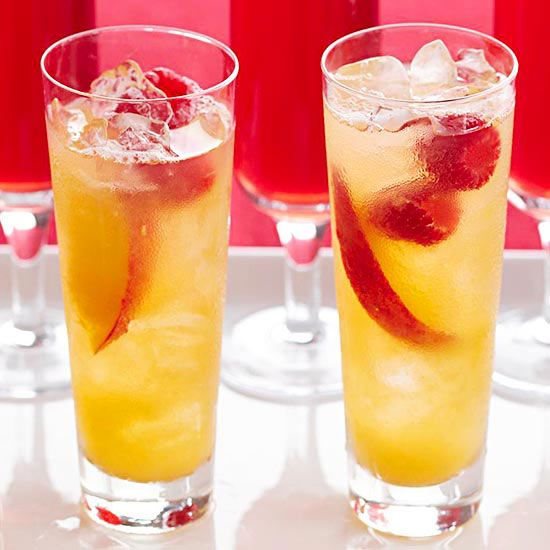 Bellinis sparkling wine and fresh fruit on pinterest for Champagne drinks with fruit
