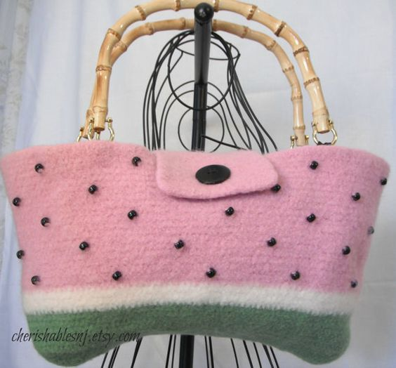 felted watermelon tote
