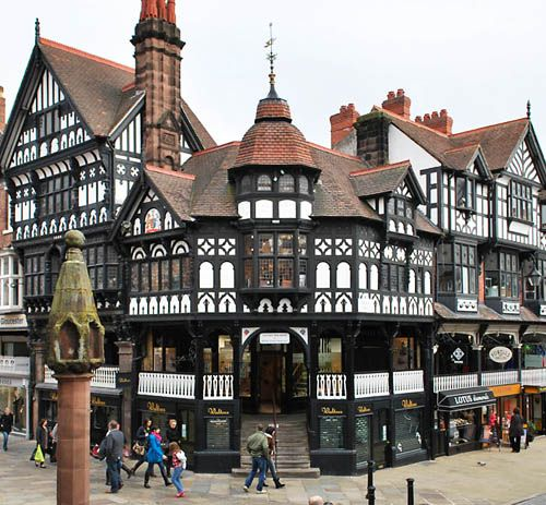 "Chester, England - old buildings and city wall, lots of shopping, world's first ""mall"""