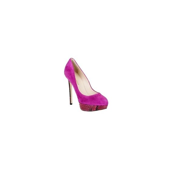 Emilio Pucci Suede And Python Platform Pump ($388) ❤ liked on Polyvore