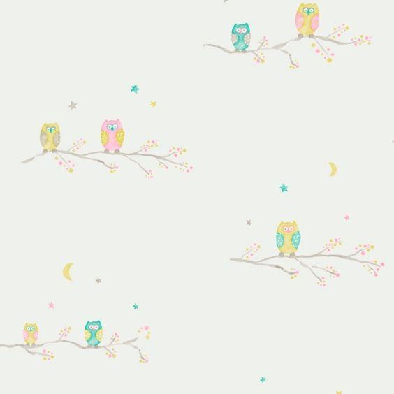 Tapete Eulen rosa/türkis/gelb-grün #Tapeten #Eulen #Kinderzimmer ...
