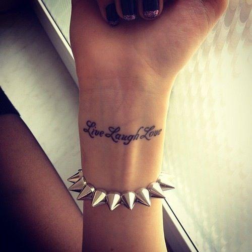 live love laugh wrist tattoo