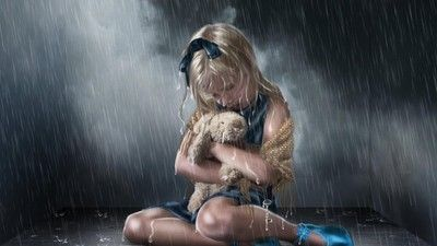 Girl with her bunny in the rain wallpaper