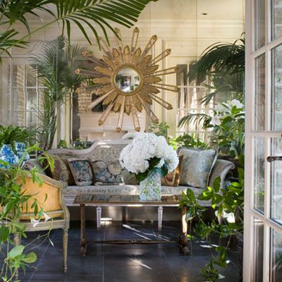Conservatory: Southern Accents, Garden Room, Sunburst Mirror, Outdoor Living, Mirror Wall, Dreamy Sunrooms Porches, Mirrored Walls, Outdoor Spaces