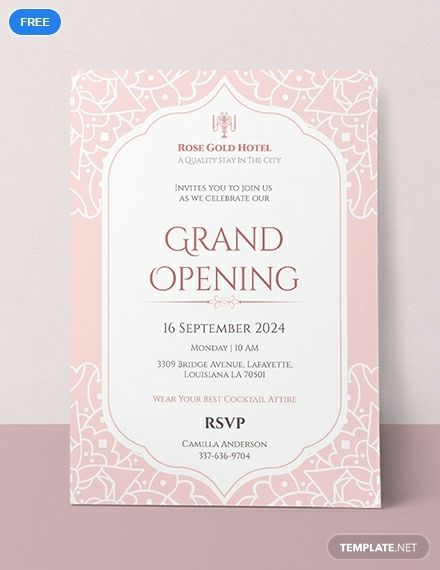 Hotel Opening Invitation Card Template Free Pdf Word Psd Apple Pages Illustrator Publisher Grand Opening Invitations Invitation Card Format Invitations