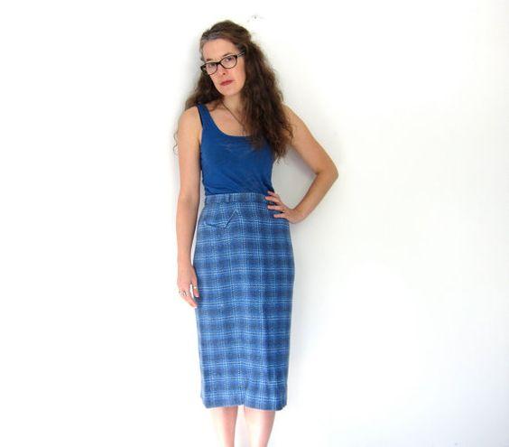 Plaid Wool Pencil Skirt June 2017
