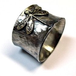 Wide Band Dragonfly Ring in Sterling Silver - Enchanted Dragonfly   ...from Lavender Cottage Jewelry