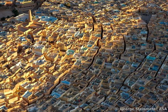 Aerial view of Beni Isguen, the most traditional village of Ghardaia, an oasis in the M'Zab region of the Algerian Sahara that has been decl...
