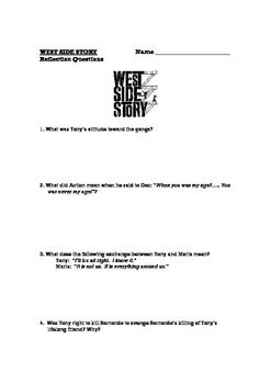 West Side Story - movie reflection questions worksheet | West Side ...