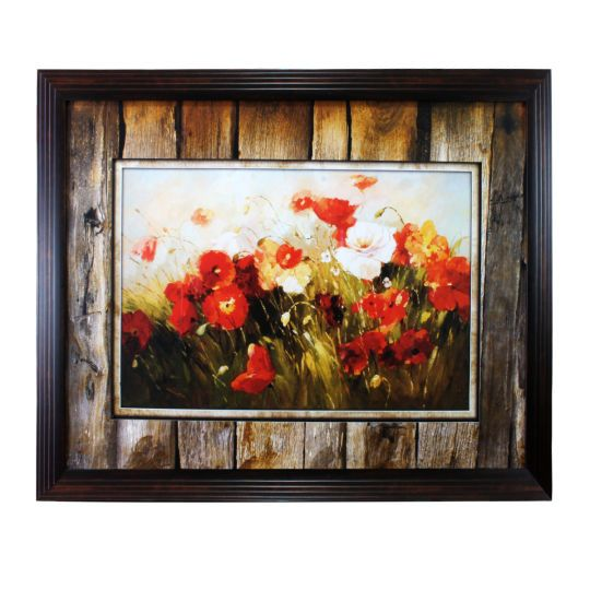 <div><div>Beautiful framed print shows a close up view of flowers growing in a field. They are s...