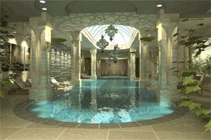 Roman bath house style indoor pool elaborate bathing for Elaborate swimming pools