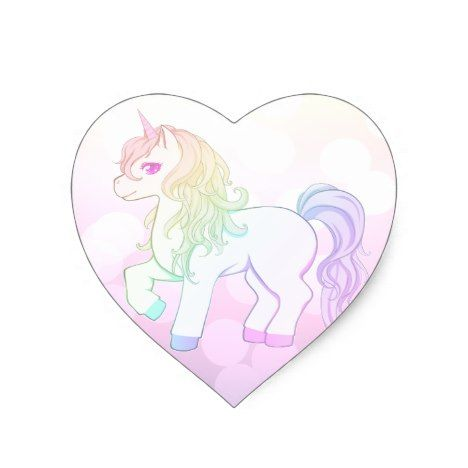 Cute Kawaii Rainbow Colored Unicorn Pony Heart Sticker Zazzle