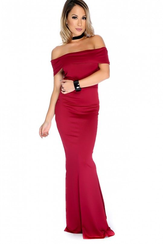 Sexy Wine Off Shoulder Formal Mermaid Prom Dress: