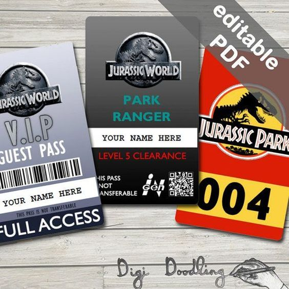Jurassic World Employee Id Badge Template Jurassic World Visitor Pass And Jurassic Park Vehicle Pass Jurassic World Jurassic Park Jurassic Park Birthday Party