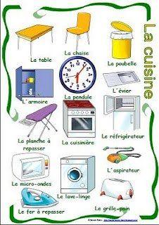 Cuisine langue and fran ais on pinterest for Apprendre les objets de la maison