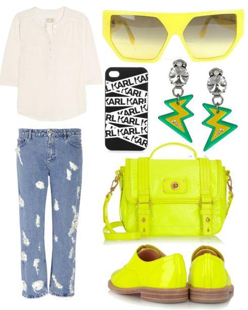 shredded boyfriend jeans + neon-yellow Louboutin brogues