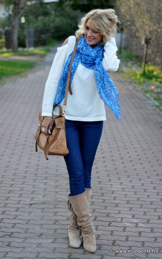 Spice up a neutral sweater with a brightly colored scarf!