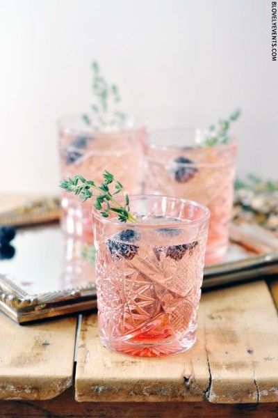 The perfect brunch cocktail: prosecco, blackberries, and thyme.: