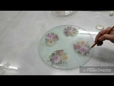 ورق الجيلاتين على الزجاج مع كلثوم Youtube Decorative Tray Decoupage Tableware