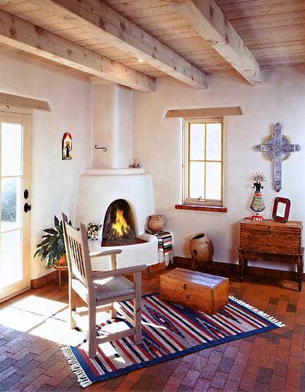 Adobe fireplaces and santa fe on pinterest for Santa fe adobe homes