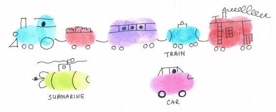 thumbprint art train