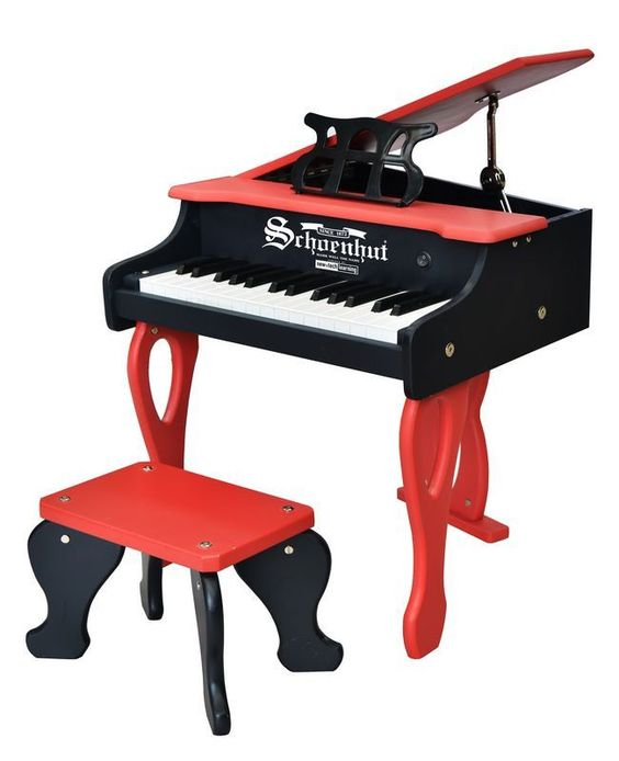 30-Key Two-Tone Red & Black Digital Baby Grand Piano