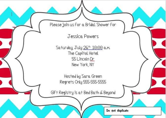 AQUA CHEVRON AND RED POLKA DOT BRIDAL SHOWER INVITATIONS!!! PRINTABLE!!!! #bridalshower