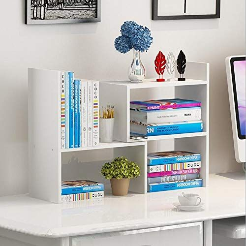 Wooden Life Wood Adjustable Desktop Storage Organizer Display Shelf Rack Office Supplies Desk Organizer Whi Desktop Bookshelf Desktop Shelf Adjustable Desktop