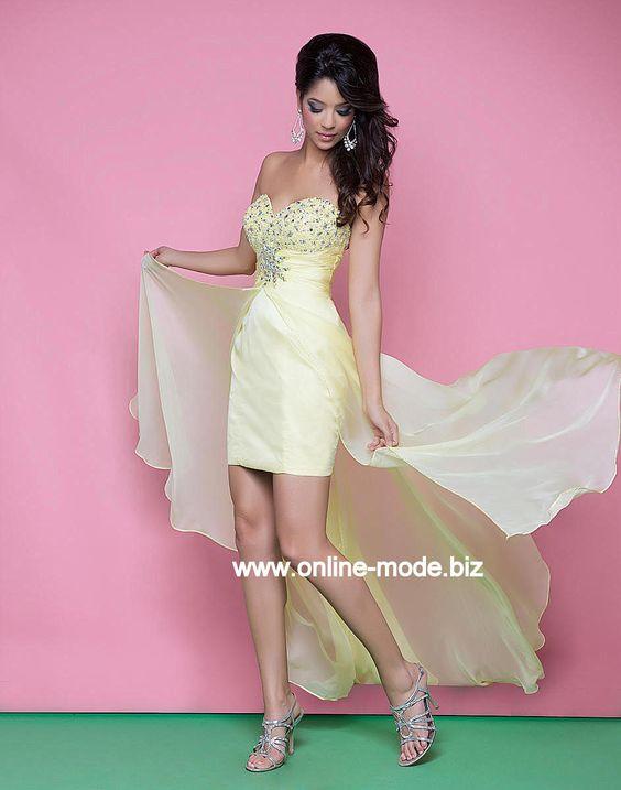 Vokuhila Abendkleid in Gelb von www.online-mode.biz
