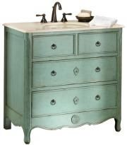 Wish this vanity was actually the light bluish color in this pic, but it is green!  Having to change my whole bathroom color scheme!